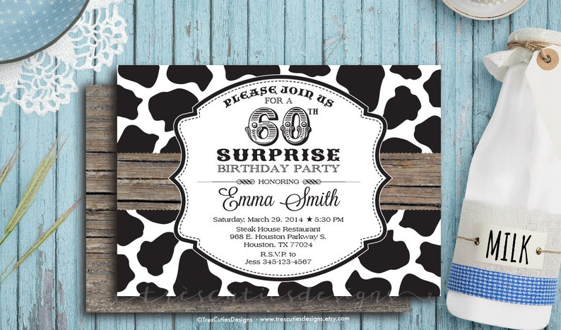 Adult Surprise Birthday Invites 60th Cow Also For Baby