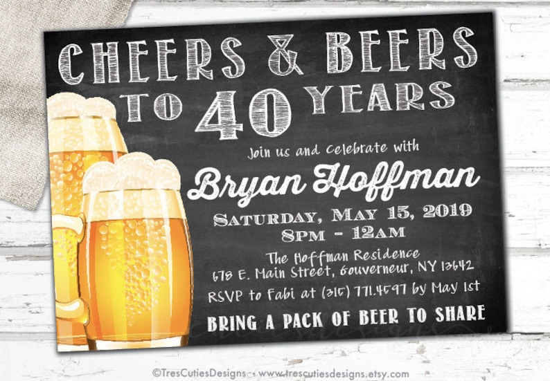 Cheers And Beers Invitation Male Birthday 40th