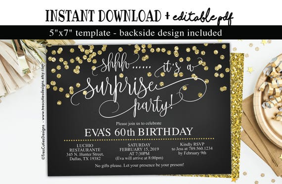 Sixty Invitation Edit YOURSELF Template Surprise 60th