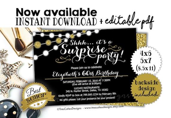 Surprise Birthday Invitation 60th Birthday Party Black Etsy
