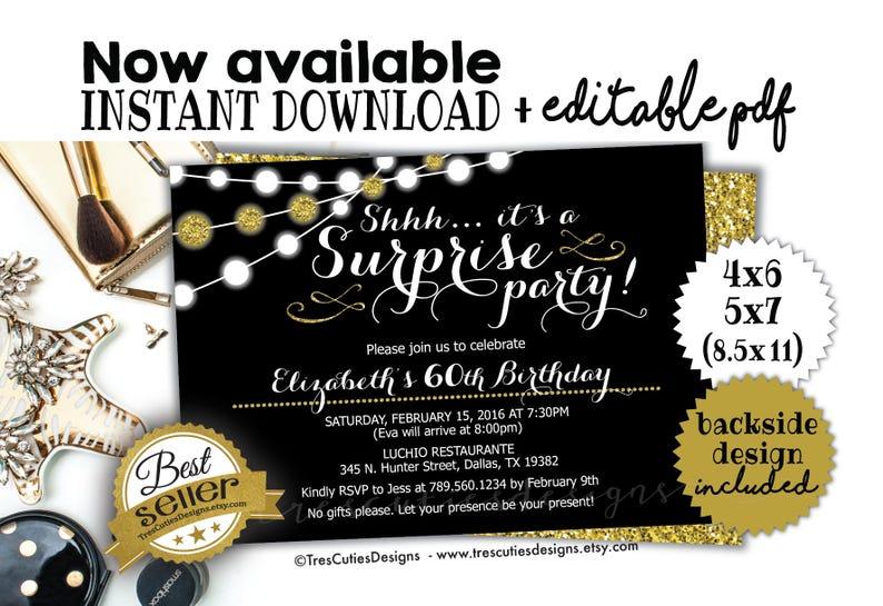 Surprise Birthday Invitation 60th Party Black