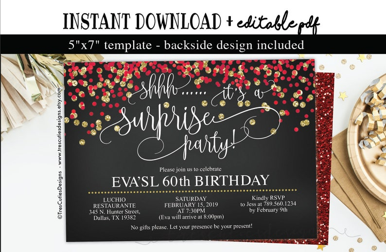 Surprise Birthday Invitation 60th Party Black