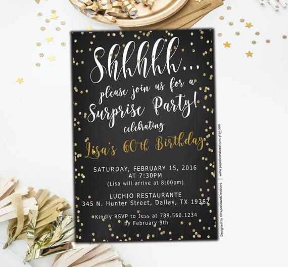 Surprise 60th Birthday Invitations Black Gold Glitter Etsy