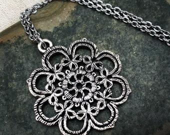 Necklace with pendant flower ceramic boho 0016