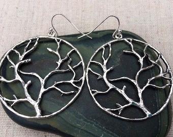 SALE - Big Tree Earrings - Statement Tree Earrings - Tree Jewelry Gifts - Tree Hoop Earrings - Nature Lover Jewelry