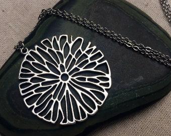 SALE - Large Flower Necklace - Flower Statement Necklace - Big Modern Flower Necklace - Big Silver Necklace - Flower Statement Jewelry