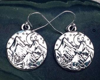 SALE - Silver Mountain Earrings - Mountain Range Earrings - Mountain Lover Earrings - Mountain Jewelry Gifts - Hiking Camping Jewelry