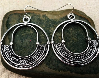 SALE - Boho Earrings - Hoop Earrings - Tribal Earrings - Big Earrings - Bohemian Earrings - Silver Earrings - Ethnic Earrings