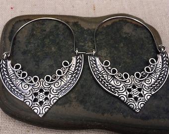 SALE - Artisan Hoop Earrings - Ethnic Hoop Earrings - Bohemian Hoop Earrings - Gypsy Hoop Earrings - Boho Hoop Earrings - Boho Jewelry Gifts