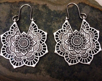 SALE - Boho Hoop Earrings - Gypsy Flower Earrings - Silver Bohemian Earrings - Mandala Hoop Earrings - Ethnic Hoop Earrings - Boho Jewelry