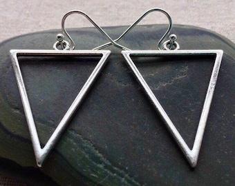 SALE - Silver Geometric Earrings - Big Triangle Earrings - Minimalist Silver Earrings - Big Modern Earrings - Silver Triangle Earrings