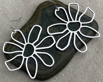 SALE - Huge Flower Earrings - Large Flower Earrings - Big Flower Earrings - Modern Flower Earrings - Statement Flower Earrings