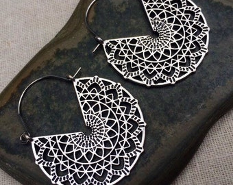 SALE - Big Mandala Earrings - Bohemian Earrings - Silver Hoop Earrings - Big Boho Earrings - Boho Hoop Earrings - Bohemian Jewelry Gifts