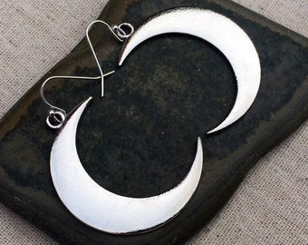 SALE - Statement Moon Earrings - Big Moon Earrings - Silver Moon Earrings - Crescent Moon Earrings - Crescent Moon Jewelry