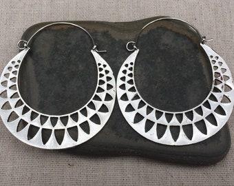 SALE - Modern Hoop Earrings - Geometric Hoop Earrings - Big Silver Hoop Earrings - Statement Hoop Earrings - Big Silver Hoop Earrings