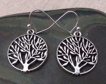 SALE - Leafy Tree Earrings - Silver Tree Jewelry - Round Tree Earrings - Everyday Tree Jewelry - Simple Tree Earrings