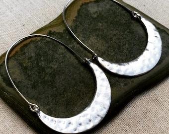 SALE - Hammered Hoop Earrings - Minimalist Hoop Earrings - Modern Hoop Earrings - Silver Hoop Earrings - Big Hoop Earrings