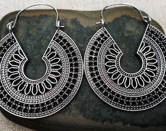 SALE - Boho Hoop Earrings - Mandala Hoop Earrings - Ethnic Hoop Earrings - Bohemian Hoop Earrings - Big Hoop Earrings - Silver Hoop Earrings