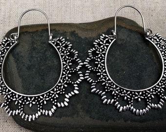 SALE - Floral Hoop Earrings - Boho Flower Hoops - Silver Floral Hoops - Big Bohemian Hoops - Large Boho Hoop Earrings - Big Silver Hoops