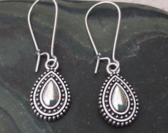 SALE - Bohemian Drop Earrings - Dainty Dangle Earrings - Little Silver Earrings - Small Teardrop Earrings - Dainty Boho Earrings