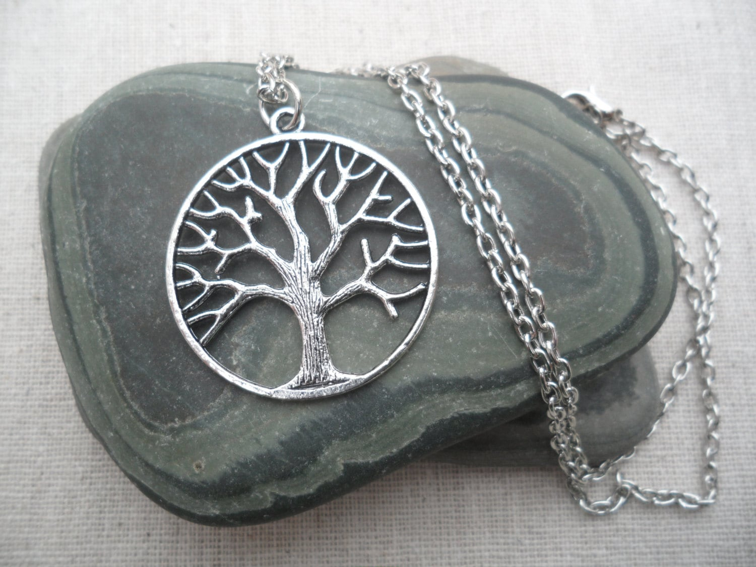 Tree Necklace Tree Of Life Silver Tree Pendant Round Etsy