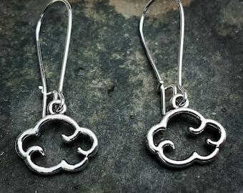 SALE - Silver Cloud Earrings - Cloud Dangle Earrings - Dainty Cloud Earrings - Small Cloud Earrings - Silver Cloud Jewelry Gifts