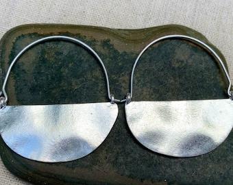 SALE - Ethnic Hoop Earrings - Big Rustic Earrings - Hammered Hoop Earrings - Big Modern Earrings - Boho Hoop Earrings - Silver Hoop Earrings