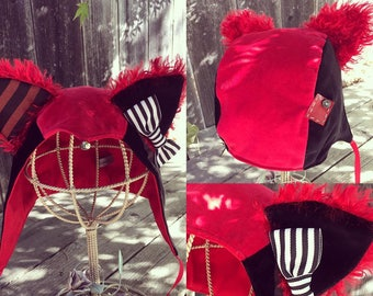 Red and Black Jester Kitty Hat size S/M