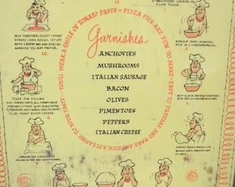 Pizza Menu Stovetop Mat Circa 1960s