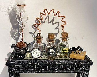 Mad scientist, Laboratory, dollhouse, miniature, Halloween, Dollhouse table, furniture, toy, doll, science lab, glass bottles, creepy