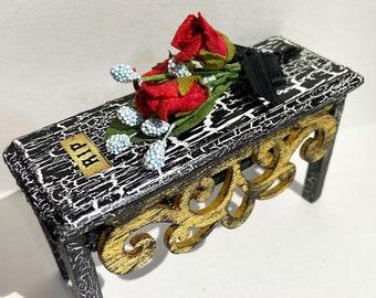 Coffin, Casket, cemetery, undertaker, graveyard, Halloween, dollhouse furniture, doll coffin, Goth, Dark side, Haunted, ghost, body snatcher