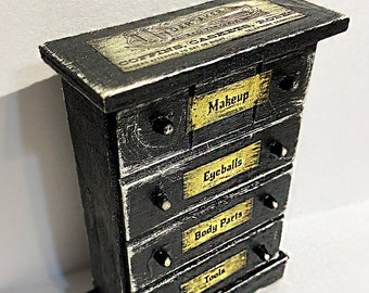 Mortician, Undertaker, dollhouse furniture, dresser, tool chest, Halloween, haunted house, Goth, graveyard, cemetery, funeral, haunted