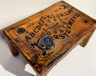 Ouija board, Goth, dollhouse furniture, coffee table, Halloween, spirits, occult, gypsy, fortune telling, seance, miniature