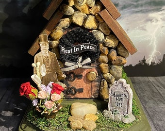 Halloween, Fairy house, funeral home, dollhouse, miniature, toy, doll, fairy garden, pixie, goth,undertaker, grave, cemetery, funeral, troll