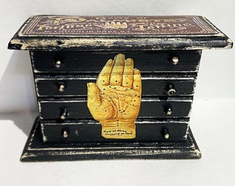 Halloween, fortune telling, palm reading, Goth, seance, dollhouse, furniture, miniature, bedroom furniture, doll, toy, haunted house, creepy