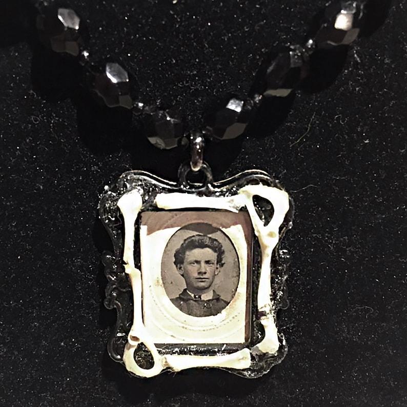 cemetery Goth portrait photograph Victorian bones necklace tintype oddities creepy jewelry Sam pendant antique morbid