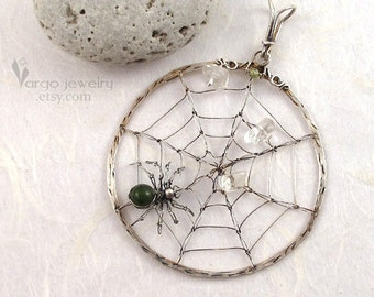 Sterling Silver Spider Web Pendant