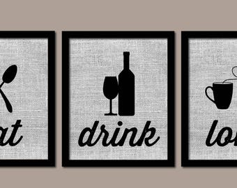 Modern Kitchen Art, Kitchen Wall Art, Burlap, Eat Drink Love, Modern  Kitchen Art, Farmhouse Decor, Kitchen Wall Decor, Kitchen Prints