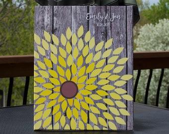 Sunflower Wedding, Guest Book, Flower Guest Book, Dahlia, Unique Wedding Guestbook, Bridal Shower Guest Book, Dahlia, 16x20 CANVAS