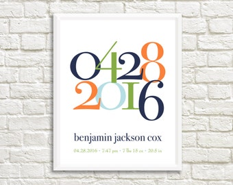 Baby Birth Stats Art, Birth announcement wall art, Personalized baby gift, baby stats, baby keepsake, baby nursery prints, baby room decor