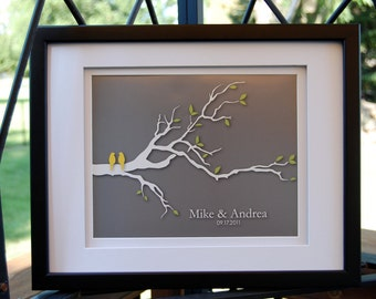 """Personalized Wedding Gift, Wedding Gifts for Couple, Love Birds Family Tree, Anniversary Gift Wedding Gift Print - 8""""x10"""" You choose colors"""