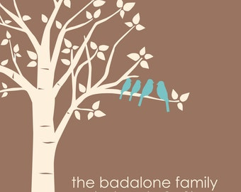 Family Christmas Gift, Family Tree Wall Art, Housewarming Gift, Sister Gift, Gift for Mom, Gift for Wife, Last Name Established, Love Birds