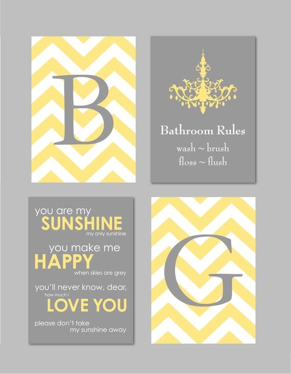 Bathroom Wall Art Yellow And Gray Decor Bathroom Rules Sign Etsy