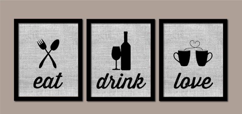 Modern Kitchen Art, Kitchen Wall Art, Burlap, Eat Drink Love, Modern  Kitchen Art, Farmhouse Decor, Kitchen Wall Decor, Kitchen Prints