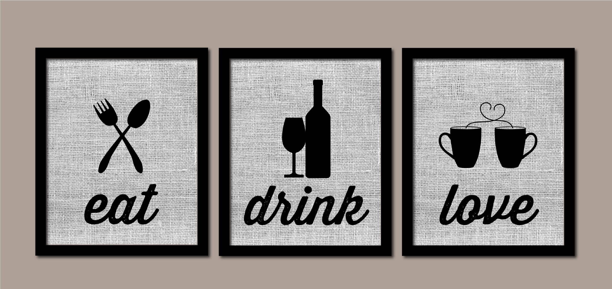 Modern Kitchen Art Kitchen Wall Art Burlap Eat Drink Love   Etsy