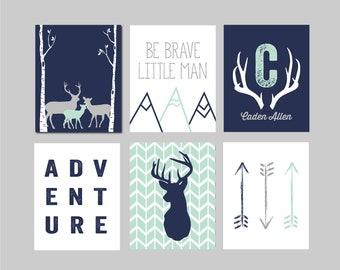 Adventure Nursery, Mountain Nursery Art, Mountain Nursery Decor, Navy Deer Decor, Arrows,Deer Antlers Mountains, Set of Six, Boy Nursery Art