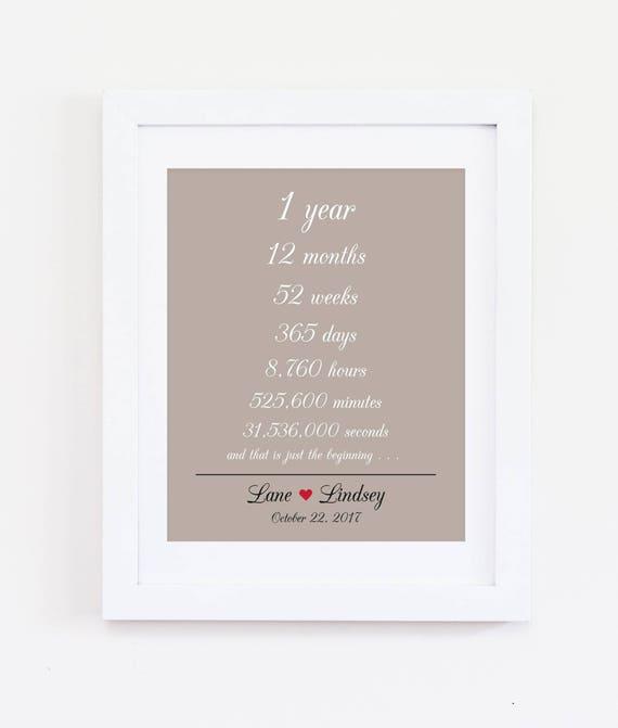 1 Jaar Samen 1e Eerste Verjaardag Weken Dagen Uren Minuten Seconden Bruiloft Verjaardag Geschenk Voor Man Vrouw Papier Verjaardag 8 X 10