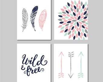 Arrow Nursery Art for Girls, Pink Mint Navy, Tribal Nursery Decor, Wild and Free, Abstract Floral, Feather Nursery, Set of 4 Prints