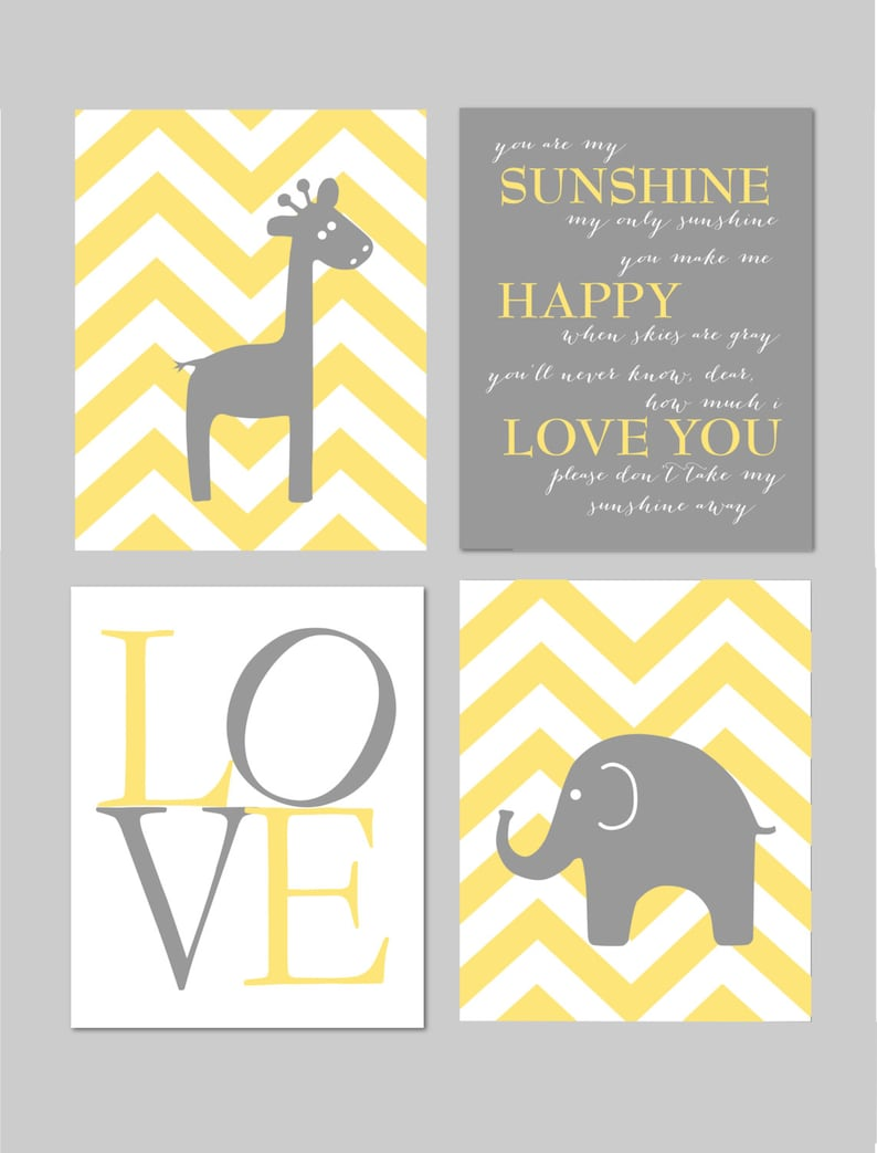 Yellow and Gray Nursery You Are My Sunshine Elephant Giraffe Love Chevron  Prints - Art for Nursery - Set of four prints