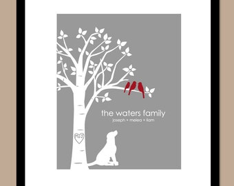 """Personalized Family Tree, Dog, Family Tree With Dog, Love Birds, Custom Family Tree, Family Tree Wall Art, You Choose Colors - 11""""x14"""" Print"""